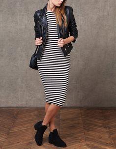 Striped midi dress - DRESSES - WOMAN | Stradivarius Bulgaria