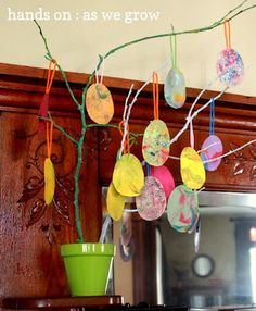 Shaving cream eggs very cool technique for swirly colors :)