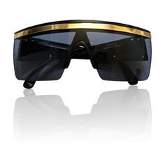 Gianni Versace - GIANNI VERSACE black shield sunglasses with gold trim ❤ liked on Polyvore featuring accessories, eyewear, sunglasses, glasses, acessorios, futuristic, gold trim glasses, versace, shield sunglasses and versace sunglasses