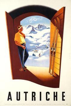 Item Of Interest - Sold / Posters - Sport - Ski - Skier Austria Mountains Skiing Austria / / Ski Posters / A. Ebner / Original vintage w - Ski Vintage, Vintage Ski Posters, Retro Poster, A4 Poster, Retro Vintage, Poster Wall, Vintage Ideas, Ski Austria, Austria Travel