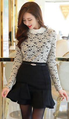 Beaded Collar Floral Brushed Lace Blouse