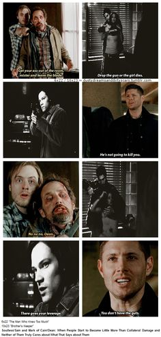 """""""10x23 Brother's Keeper / 6x22 The Man Who Knew Too Much [gifset] - Soulless!Sam and Mark of Cain!Dean: When People Start to Become Little More Than Collateral Damage and Neither of Them Truly Cares about What That Says about Them"""" [gifset]"""