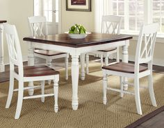 White Dining Room Table Sets Best Of Home Styles Monarch 5 Piece Dining Table with 4 Double X Country Kitchen Tables, French Country Dining Room, Dining Room Sets, Dining Table In Kitchen, Dining Table Chairs, Dining Furniture, Kitchen Chairs, Farmhouse Table, Furniture Sets