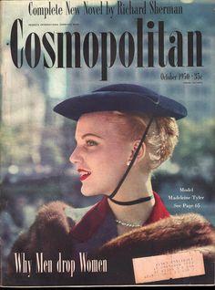 Vintage Furcoat Model Madeleine Tyler on the cover of Cosmopolitan, October - Vintage Posters, Vintage Photos, Vintage Ideas, Vintage Designs, Vintage Trends, Vintage Vogue, Vintage Fashion, 1950s Fashion, Vintage Tops