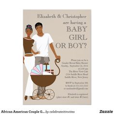 Shop African American Couple Gender Reveal Baby Shower Invitation created by celebrateitinvites. Personalize it with photos & text or purchase as is! Invitation Paper, Custom Invitations, Invites, Gender Reveal Invitations, Baby Shower Invitations, Baby Shower Gender Reveal, Baby Boy Shower, Couples Baby Showers, Baby Co