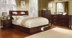 Anita Platform Bed with Book Case Headboard and Storage Drawers (Brown – Modish Store