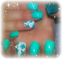 flower and glitter by nails4love from Nail Art Gallery