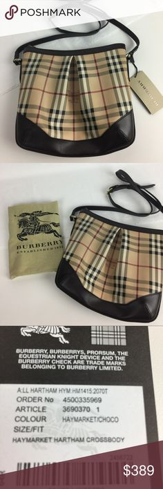 "Burberry Hartham Haymarket Chocolate CrossBody Bag New, With Tags and Dust Bag - Some very slight signs of handling due to shipping. See photos. Brown leather bag from Burberry London featuring a top zip fastening, an adjustable shoulder strap handle, a pleated detail to the tops, fully lined. Model: 3690370 Adjustable single strap 24"" Hardware Color: Gold  Inside 1 back wall zip pocket, 2 front wall slip pockets. 9 inches high x 10 inches wide x 2 inches deep Drop: 23 inches Burberry Bags…"