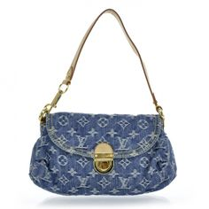 This is a darling authentic Louis Vuitton Mini Pleaty in blue denim.   It is really not much smaller than the regular Pleaty but this one has a small leather shoulder strap instead of the two padded handles.