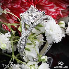 Romantically detailed ft. here is our Tacori Ribbons Criss Cross Diamond Engagement ring set with a breathtaking 1.515ct I SI1 A Cut Above Princess