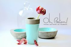 Ynas Design Blog, Betonschalen in Mint, Vasen in Mint