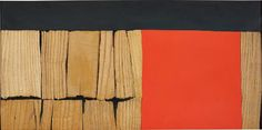 Alberto Burri (b.1915 - d.1995)  -  Legno (Wood), 1959. Oil and wood collage on canvas, 50 x 100 cm (19 5/8 x 39 3/8 in.), signed and dated 'Burri 59' on the reverse - Guggenheim Museum NyC
