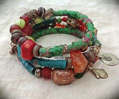 Gypsy beaded kuchi red coral gemstone and silk wrap by quisnam, $45.00