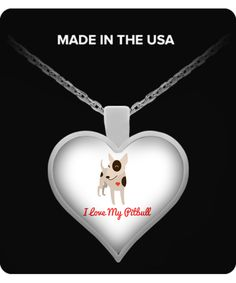 I Love My Pitbull Heart Shaped Pendant Necklace