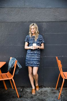 Amanda Holstein in Old Navy shibori print dress and mules for spring outfit, indigo-dyed pattern, spring style