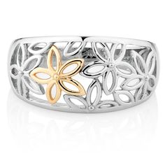 10CT YELLOW GOLD & STERLING SILVER FLOWER RING