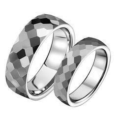 Tungsten steel mosaic pair of rings