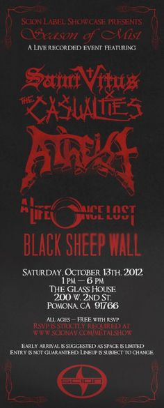 LA gig alert: Scion A/V Metal presents Season of Mist Showcase feat. Saint Vitus, The Casualties, Atheist, A Life Once Lost & Black Sheep Wall, Saturday October 13th @ The Glass House Concert Hall (Pomona), All Ages, 1 PM-6 PM, FREE w/ RSVP at http://www.scionav.com/
