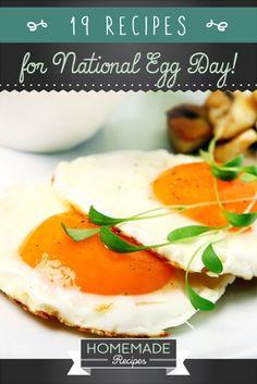19 Egg Recipes for National Egg Day by Homemade Recipes at http://homemaderecipes.com/holiday-event/19-homemade-egg-dish-recipes-for-national-egg-day/