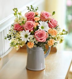 Easter Charming Wishes Bouquet Send someone special a charming surprise for any reason… or no reason at all! This simple yet stylish arrangement of pink roses, white daisy poms, orange mini carnations and mo 800 Flowers, Beautiful Bouquet Of Flowers, Silk Flowers, Beautiful Flowers, Wedding Flowers, Bouquet Flowers, Gerbera Wedding, Bridal Bouquets, Easter Flower Arrangements