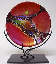 """Ruby Moon by Karen Ehart (Art Glass Sculpture) (13"""" x 10.5"""")"""