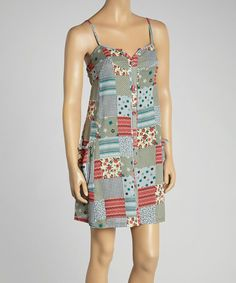 Another great find on #zulily! Gray & Pink Polka Dot Button-Up Sleeveless Dress by Aryeh #zulilyfinds