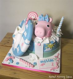 Peppa Pig in a gift box cake - by RachelManningCakes @ CakesDecor.com - cake decorating website