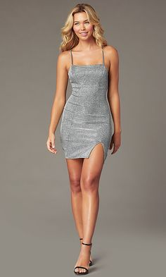 Metallic Backless Short Silver Homecoming Dress, The Effective Pictures We Offer You About Short Dress korean A quality picture can tell you many Short Silver Dress, Short Sparkly Dresses, Silver Sparkly Dress, Metallic Party Dresses, Homecoming Dresses Tight, Sparkly Mini Dress, Dresses Short, Hoco Dresses, Metallic Dress