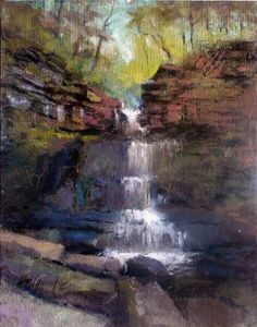 Chittenango Waterfalls 14 x11 Oil on canvas by Hall Groat II, painting by artist Hall Groat II