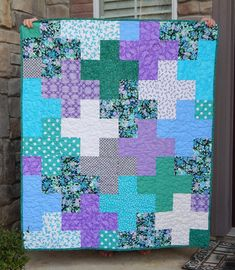 Modern Quilt Lap Quilt Quilted Throw Plus Quilt Purple Scrappy Quilts, Easy Quilts, Quilting Tutorials, Quilting Designs, Purple Quilts, Floral Quilts, Plus Quilt, Patchwork Blanket, Quilts For Sale