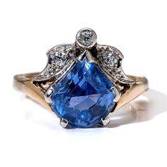 5.70ct Violet Blue Sapphire and Diamond Victorian Gold Ring