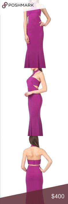 Conor Cut-Out Gown Floor length gown with side cutouts. Halter style top. By Jay Godfrey.   Fabric: Polyester  Length: Hollow to hem 62 inches  Color: Purple  Style Number: Conor Jay Godfrey Dresses Prom