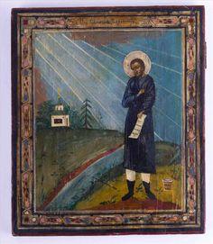 """Ikone Rußland / Icon, Russia 19th century """"Heiliger Simeon"""" Eitempera auf Holz, 30,8 cm x 26 cm,"""