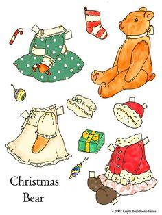 Teddy bear paper doll