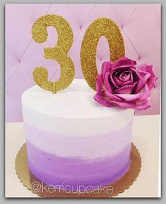 With a different cake number this would be perfect 30th Birthday Cake For Women, 30 Birthday Cake, Purple Birthday, Adult Birthday Cakes, Birthday Ideas, Ombre Cake, Pretty Cakes, Beautiful Cakes, Amazing Cakes