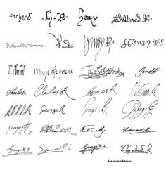 All the signatures of Kings and Queens of England