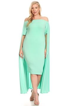 9ab421cf1fe ZAYNAB SMITH COLLECTION · Clothing · Mint Off Shoulder Cape Plus Size Dress  Shoulder Cape
