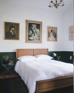 art at home. Master Bedroom Design, Bedroom Art, Dado Rail Bedroom, Bedroom Ideas, Queen Bedroom, Bedroom Wallpaper, Bedroom Green, Bedroom Inspiration, Master Suite
