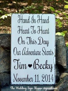 Wood Wedding Signs Hand Painted Wedding Decor Personalized Wooden Wedding Gift Hand In Hand On This Day Adventure Starts Reception Decoration Bridal Save Date Rustic Weddings Beach Weddings Barn Country Weddings Outdoor Venue Décor Engagement Gift $ Engaged Bride Groom #countryweddingdecorations