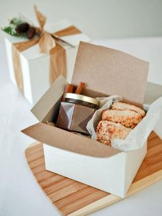 Gift Box Holding Breakfast Pastries and Pear Butter