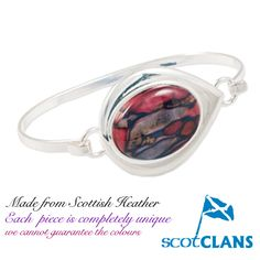 Supplied in a gift box with story card on how we make Heathergems. Heathergems are unique and no two are ever exactly the same. Handcrafted in Scotland. Heather Flower, Scottish Heather, Scotland, Bangles, Jewelry Making, Gems, Wire, Unique Jewelry, Box