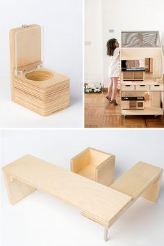 Birch plywood, stainless steel, transparent varnish, wheels… I wouldn't mind to play with this and the other fabulous, modern dollhouses made by Liliane.