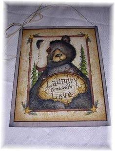 Black Bear laundry done With Love lodge sign Country decor Bears stars trees. $17.99, via Etsy.