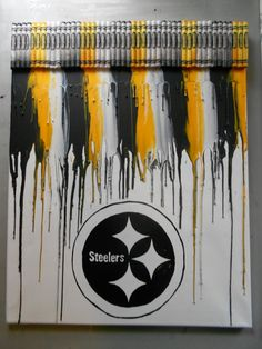 Pittsburgh Steelers Melted Crayon Painting by OnceUponACrayon.gonna have to try the black and yellow Pittsburgh Steelers Football, Pittsburgh Sports, Pitsburgh Steelers, Steelers Gifts, Cincinnati Bengals, Pittsburgh Penguins, Broncos, Here We Go Steelers, Steelers Stuff