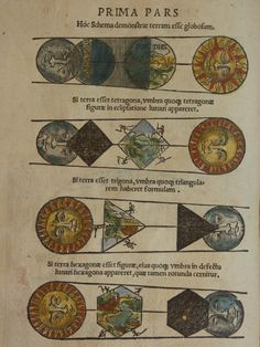 'Cosmographicus Liber' (Cosmographia). by Petrus Apianus, 1524. This illustration shows how to deduce the shape of earth by the nature of the shadow cast on the moon during an eclipse.