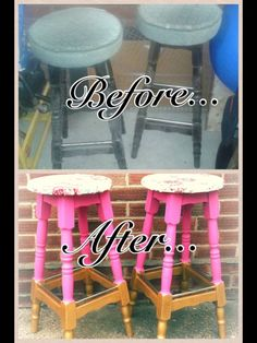 Upcycled furmiture - bar stools - pink floral gold glitter FOR SALE £80 email fleurartdesign@yahoo.co.uk  Collection in norfolk, uk or arrange own shipping