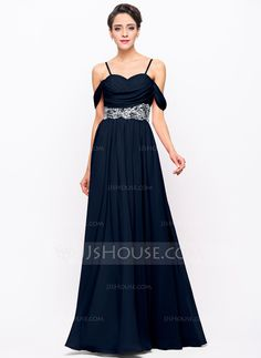 A-Line/Princess Off-the-Shoulder Floor-Length Chiffon Evening Dress With Ruffle Beading Sequins (017056120)