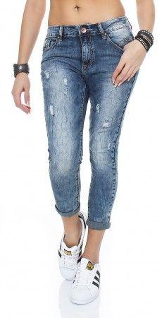 Star Stern Denim Stretch Baggy-Jeans Boyfriend offene Knopfleiste Big Size