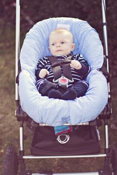 Light Blue Infant Washable Seat Cover: safe, slip-on, lined, leak-proof, easy | Nomie Baby