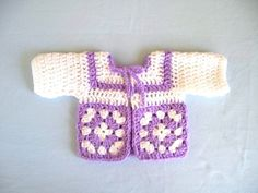 Hand crochet granny square baby sweater 3-6 months lilac and white | bobbre1 - Clothing on ArtFire